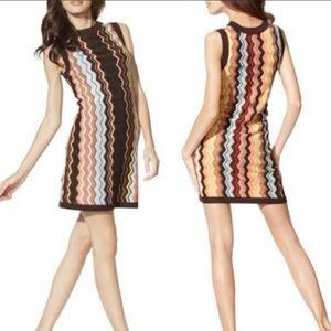 MISSONI Brown Chevron Sleeveless Knit Mini Dress M